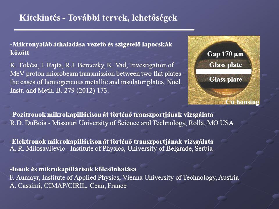 Kitekintés - További tervek, lehetőségek -Mikronyaláb áthaladása vezető és szigetelő lapocskák között K. Tőkési, I. Rajta, R.J. Bereczky, K. Vad, Inve