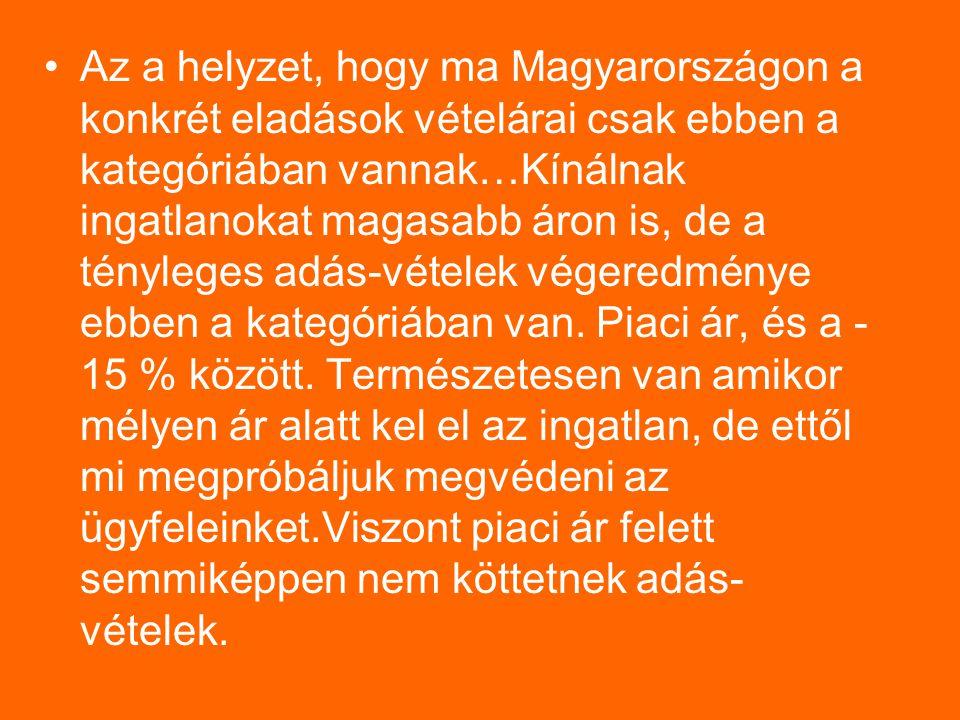 Az a helyzet, hogy ma Magyarországon a konkrét eladások vételárai csak ebben a kategóriában vannak…Kínálnak ingatlanokat magasabb áron is, de a tényleges adás-vételek végeredménye ebben a kategóriában van.