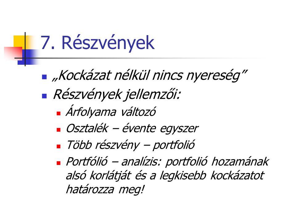 """7. Részvények """"Kockázat nélkül nincs nyereség"""" Részvények jellemzői: Árfolyama változó Osztalék – évente egyszer Több részvény – portfolió Portfólió –"""