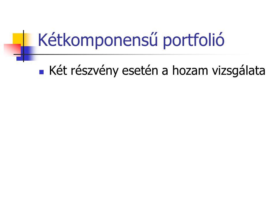 Kétkomponensű portfolió Két részvény esetén a hozam vizsgálata