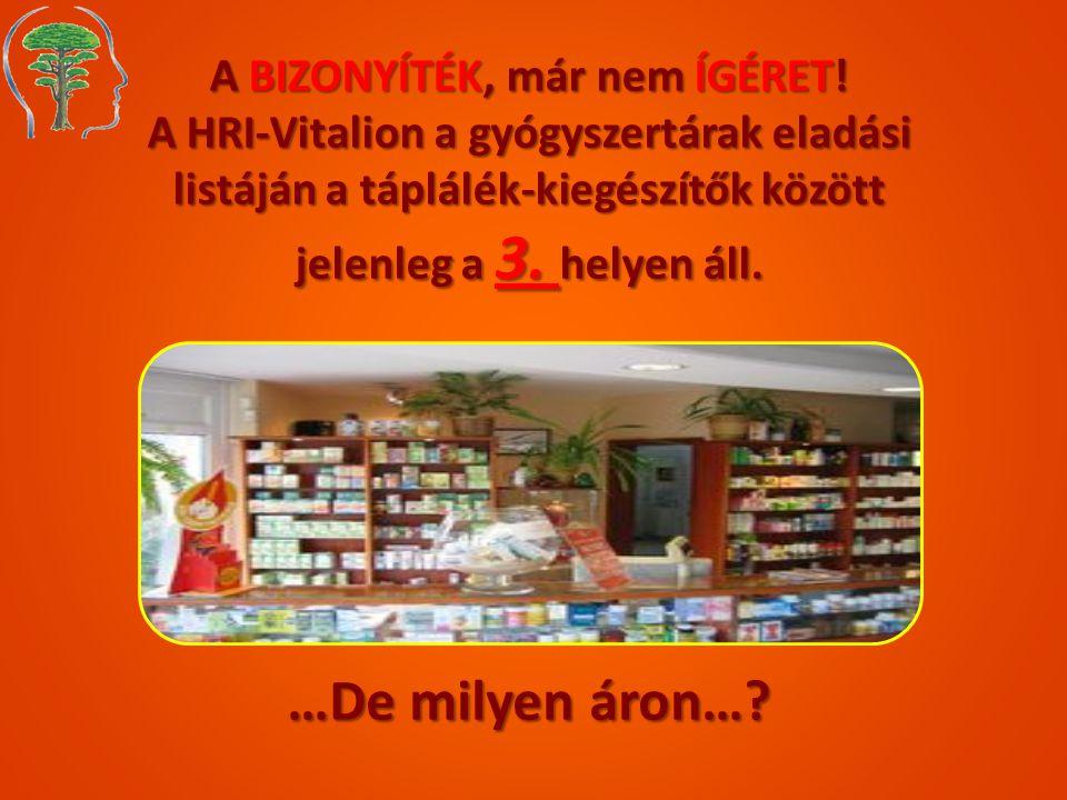 A BIZONYÍTÉK, már nem ÍGÉRET! A HRI-Vitalion a gyógyszertárak eladási listáján a táplálék-kiegészítők között jelenleg a 3. helyen áll. …De milyen áron