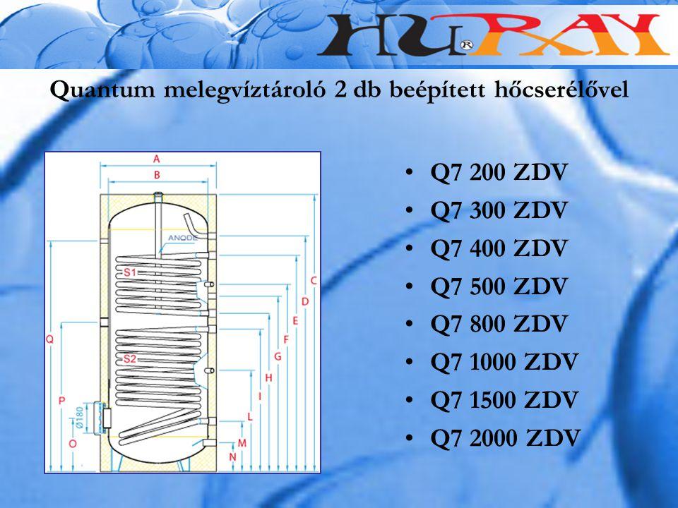 Quantum melegvíztároló 2 db beépített hőcserélővel Q7 200 ZDV Q7 300 ZDV Q7 400 ZDV Q7 500 ZDV Q7 800 ZDV Q7 1000 ZDV Q7 1500 ZDV Q7 2000 ZDV