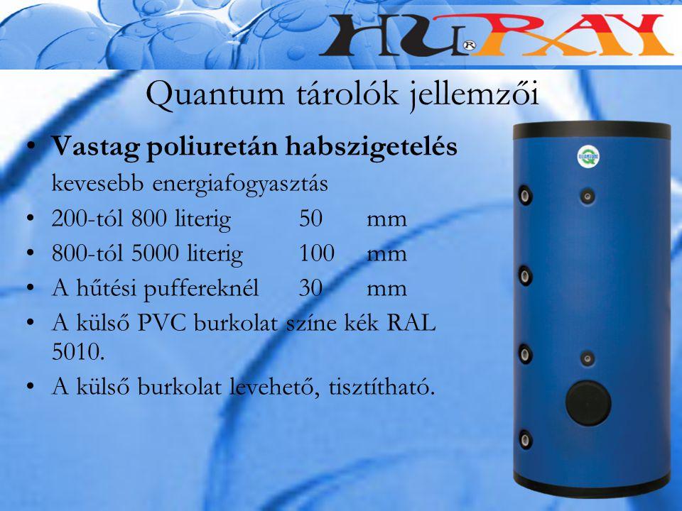 Quantum tárolók jellemzői Vastag poliuretán habszigetelés kevesebb energiafogyasztás 200-tól 800 literig 50 mm 800-tól 5000 literig 100 mm A hűtési pu