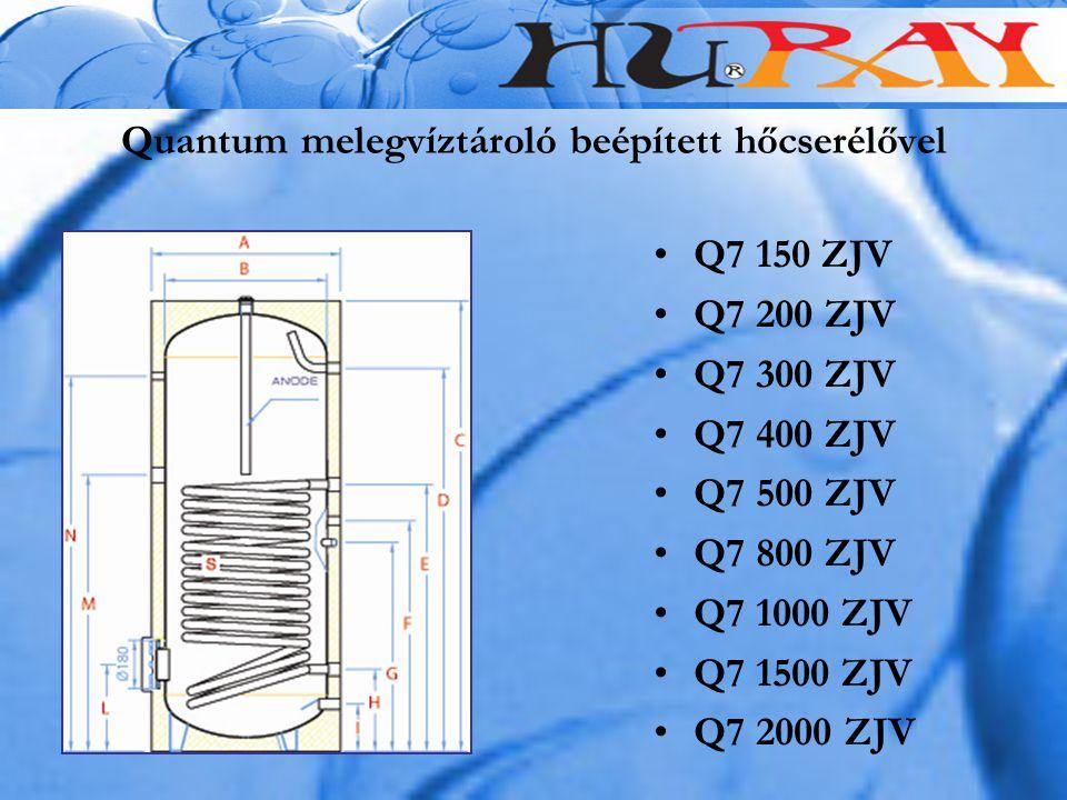 Quantum melegvíztároló beépített hőcserélővel Q7 150 ZJV Q7 200 ZJV Q7 300 ZJV Q7 400 ZJV Q7 500 ZJV Q7 800 ZJV Q7 1000 ZJV Q7 1500 ZJV Q7 2000 ZJV