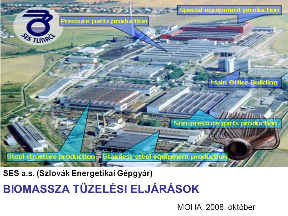 MOHA, 2008. október SES a.s. (Szlovák Energetikai Gépgyár) BIOMASSZA TÜZELÉSI ELJÁRÁSOK