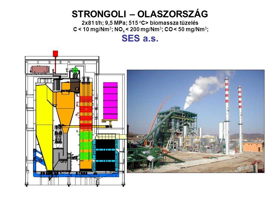 STRONGOLI – OLASZORSZÁG 2x81 t/h; 9,5 MPa; 515 o C> biomassza tüzelés C < 10 mg/Nm 3 ; NO x < 200 mg/Nm 3 ; CO < 50 mg/Nm 3 ; SES a.s.