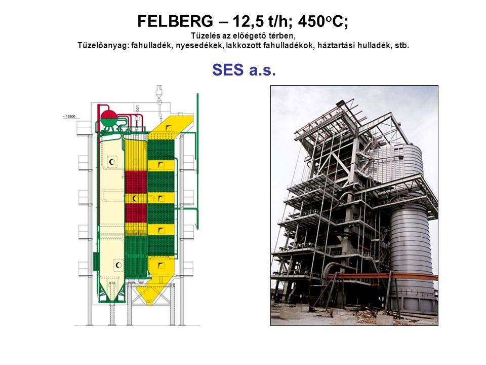 FELBERG – 12,5 t/h; 450 o C; Tüzelés az előégető térben, Tüzelőanyag: fahulladék, nyesedékek, lakkozott fahulladékok, háztartási hulladék, stb.