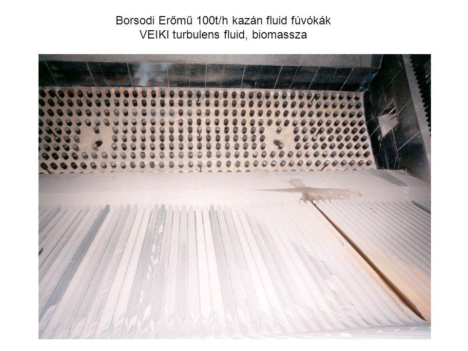 Borsodi Erőmű 100t/h kazán fluid fúvókák VEIKI turbulens fluid, biomassza