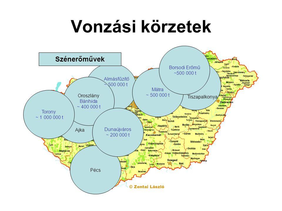 Vonzási körzetek Pécs Tiszapalkonya Mátra ~ 500 000 t Ajka Oroszlány Bánhida ~ 400 000 t Dunaújváros ~ 200 000 t Borsodi Erőmű ~500 000 t Almásfűzítő ~ 500 000 t Torony ~ 1 000 000 t Szénerőművek