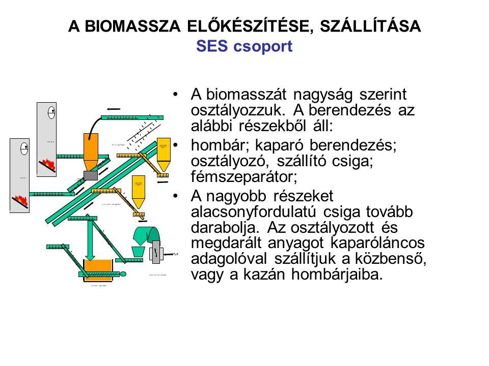 A BIOMASSZA ELŐKÉSZÍTÉSE, SZÁLLÍTÁSA SES csoport A biomasszát nagyság szerint osztályozzuk.