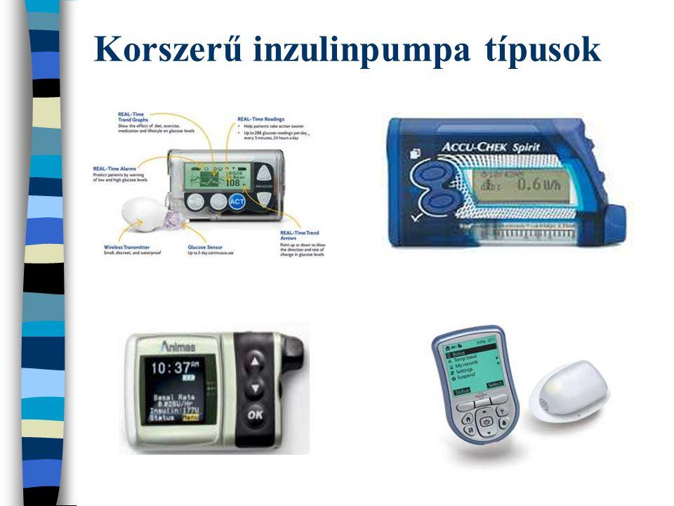 pumpa beállítás előtti 6 hó pumpa beállítás utáni 6 hó pumpa beállítás utáni 24 hó HbA 1C 9,1 + 1,4 7,9 + 0,8 * 8,2 + 0,7 ** BMI (kg/m 2 )17,6 17,2 **** 18,7 **** napi inzulin szükséglet (E/kg)0,79 0,70 ** 0,74 **** éhgyomri vércukor (mmol/l)9,8 + 4,2 7,2 + 2,3 * 7,3 + 2,4 * havi vércukor átlag (mmol/l)12,2 + 4,6 8,8 + 2,5 *** 8,7 + 2,2 *** hipoglikémiák száma (3 mmol/l alatt) 721624 hiperglikémiák száma (15 mmol/l felett) 1683359 ketoacidózis1/félév 2/félév * p< 0,05 ** p< 0,01 ***p<0,005 ****NS