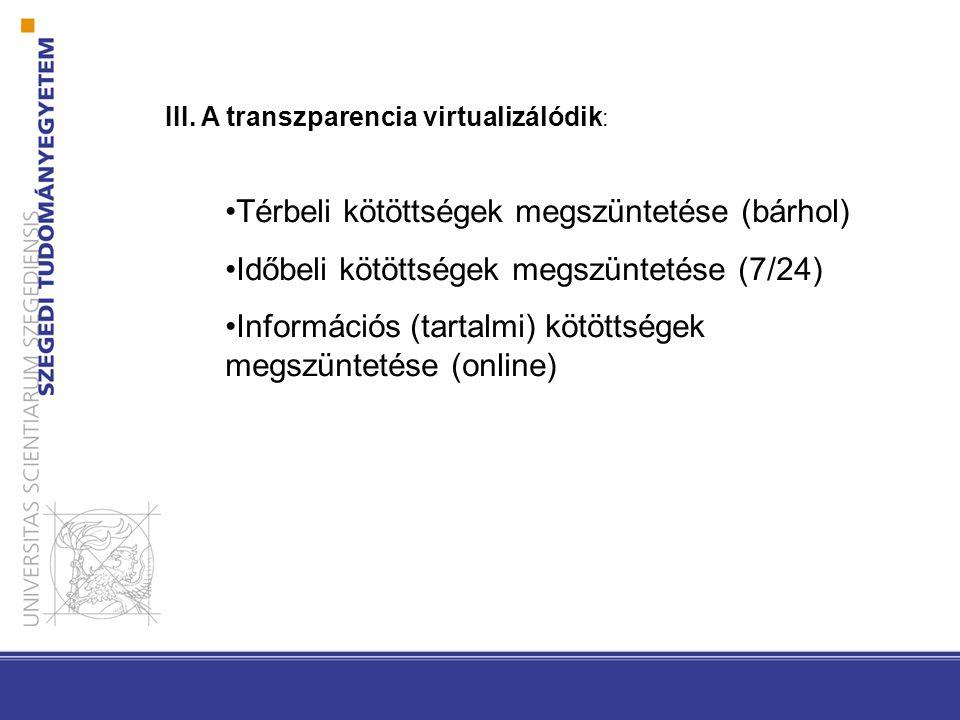III. A transzparencia virtualizálódik : Térbeli kötöttségek megszüntetése (bárhol) Időbeli kötöttségek megszüntetése (7/24) Információs (tartalmi) köt