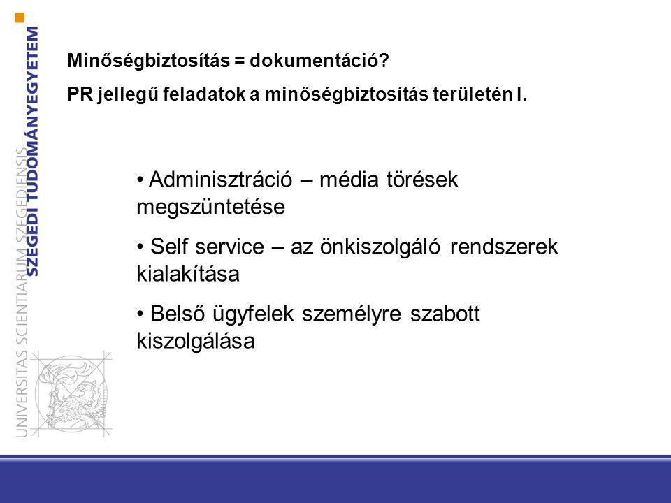Minőségbiztosítás = dokumentáció? PR jellegű feladatok a minőségbiztosítás területén I. Adminisztráció – média törések megszüntetése Self service – az