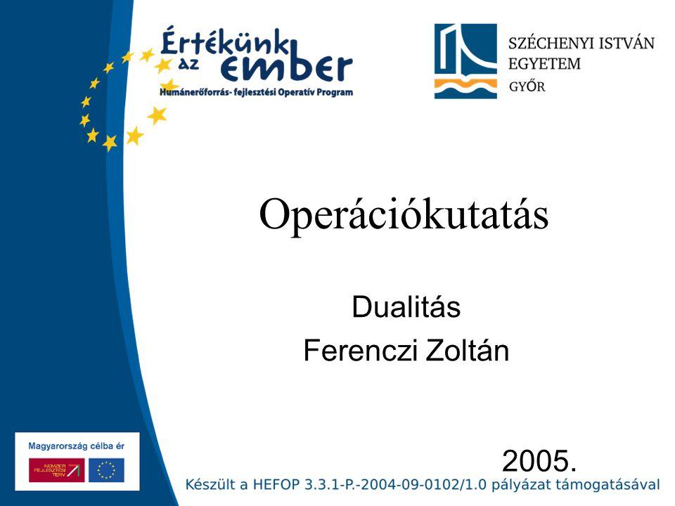 2005. Operációkutatás Dualitás Ferenczi Zoltán