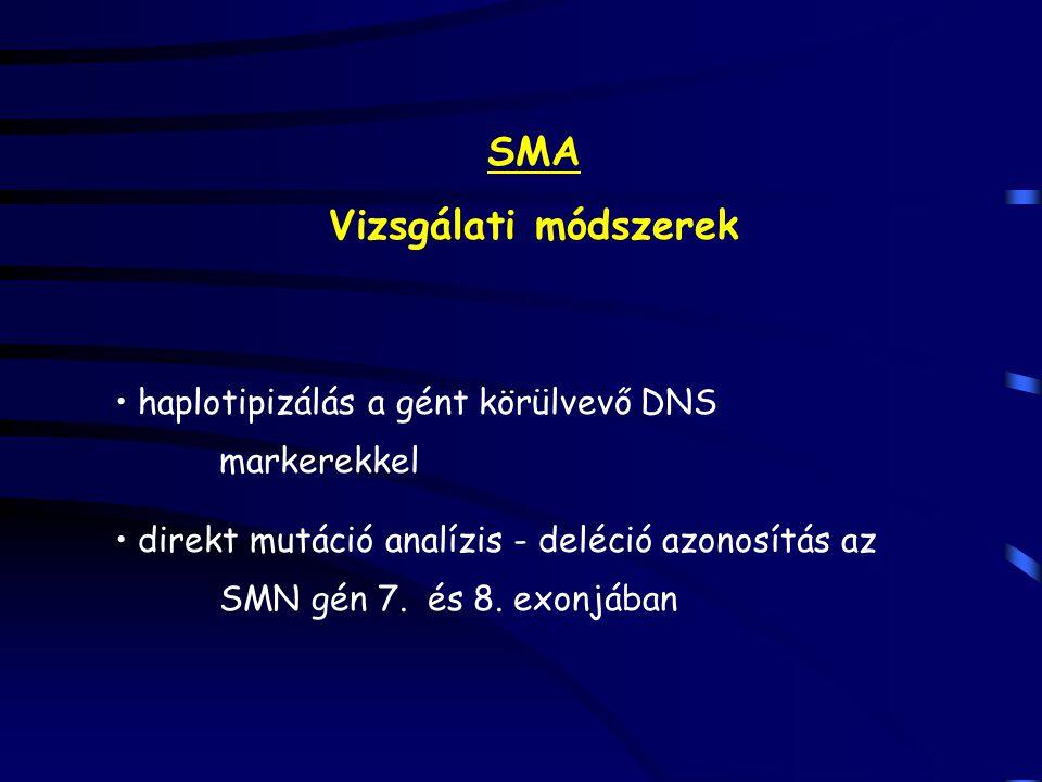 SMA Vizsgálati módszerek haplotipizálás a gént körülvevő DNS markerekkel direkt mutáció analízis - deléció azonosítás az SMN gén 7. és 8. exonjában