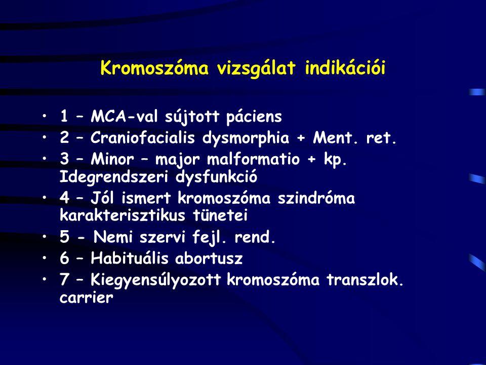 Kromoszóma vizsgálat indikációi 1 – MCA-val sújtott páciens 2 – Craniofacialis dysmorphia + Ment. ret. 3 – Minor – major malformatio + kp. Idegrendsze
