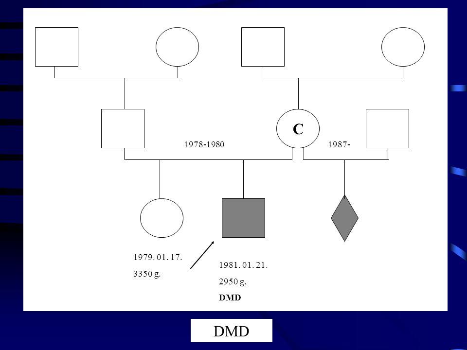 C 1978-19801987- 1979. 01. 17. 3350 g. 1981. 01. 21. 2950 g. DMD