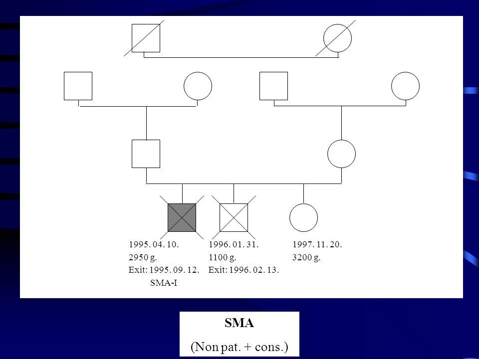 1995.04. 10. 2950 g. Exit: 1995. 09. 12. SMA-I 1996.