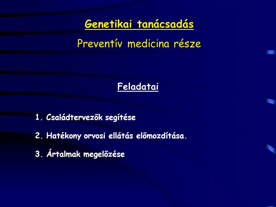 Genetikai tanácsadás Preventív medicina része Feladatai 1. Családtervezők segítése 2. Hatékony orvosi ellátás előmozdítása. 3. Ártalmak megelőzése