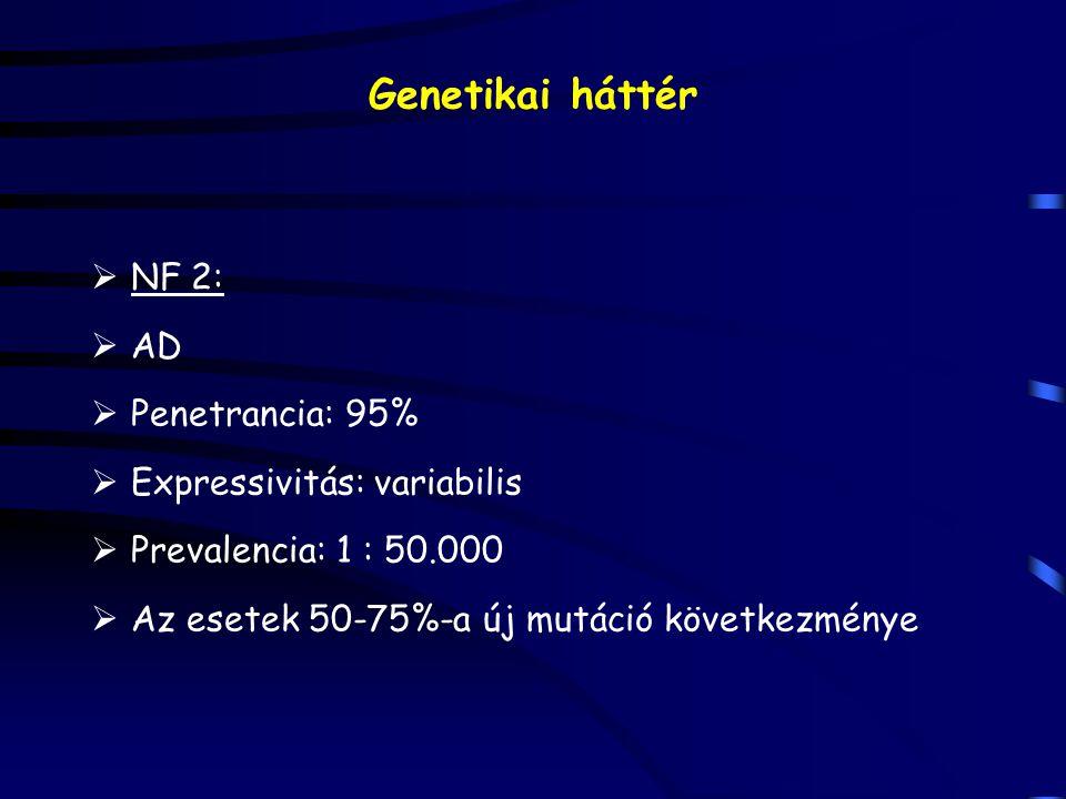 Genetikai háttér  NF 2:  AD  Penetrancia: 95%  Expressivitás: variabilis  Prevalencia: 1 : 50.000  Az esetek 50-75%-a új mutáció következménye