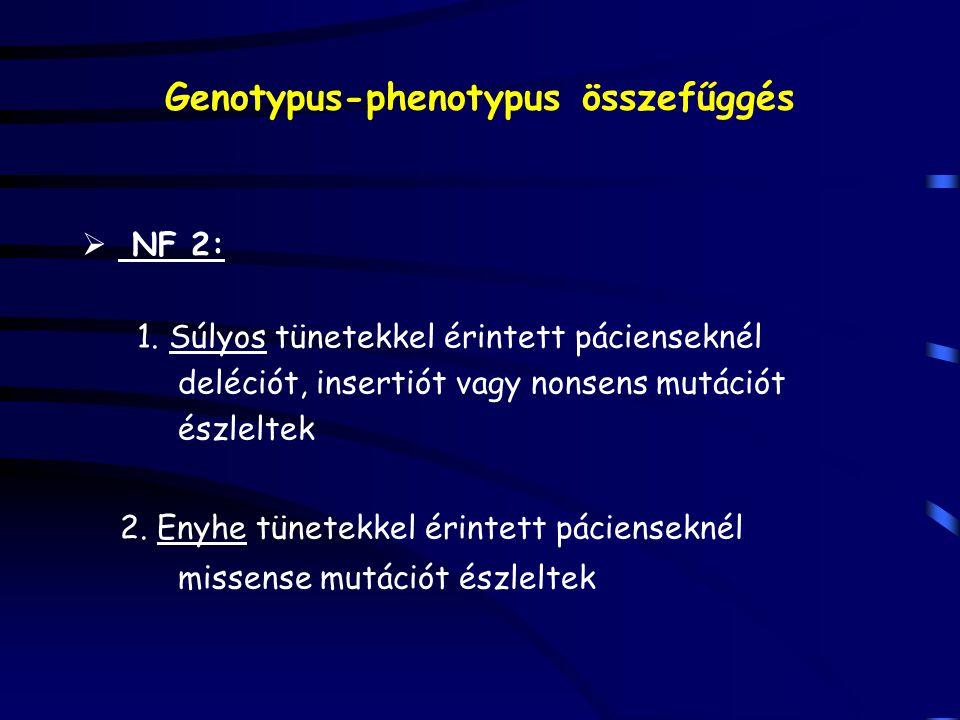 Genotypus-phenotypus összefűggés  NF 2: 1. Súlyos tünetekkel érintett pácienseknél deléciót, insertiót vagy nonsens mutációt észleltek 2. Enyhe tünet
