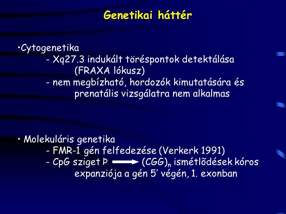 Genetikai háttér Cytogenetika - Xq27.3 indukált töréspontok detektálása (FRAXA lókusz) - nem megbízható, hordozók kimutatására és prenatális vizsgálat