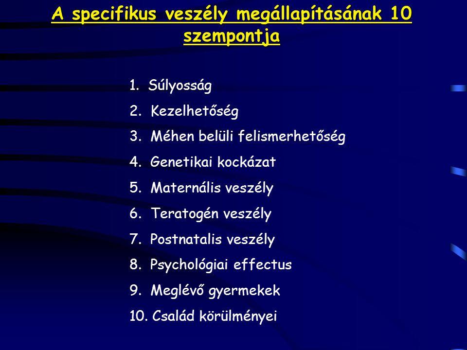 A specifikus veszély megállapításának 10 szempontja 1. Súlyosság 2. Kezelhetőség 3. Méhen belüli felismerhetőség 4. Genetikai kockázat 5. Maternális v