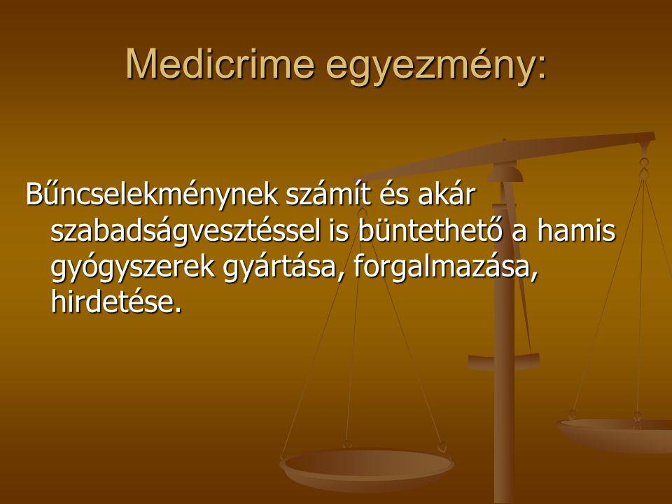 Medicrime egyezmény: Bűncselekménynek számít és akár szabadságvesztéssel is büntethető a hamis gyógyszerek gyártása, forgalmazása, hirdetése.