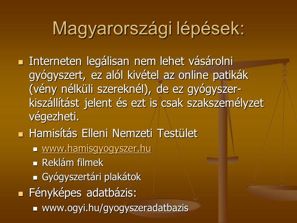 Magyarországi lépések: Interneten legálisan nem lehet vásárolni gyógyszert, ez alól kivétel az online patikák (vény nélküli szereknél), de ez gyógyszer- kiszállítást jelent és ezt is csak szakszemélyzet végezheti.