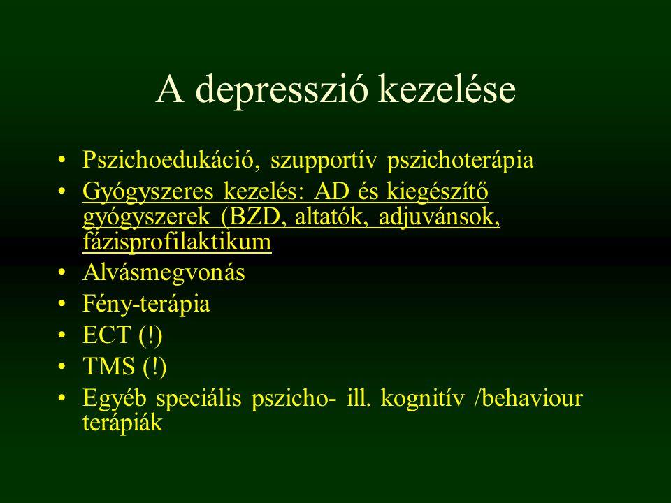 A depresszió kezelése Pszichoedukáció, szupportív pszichoterápia Gyógyszeres kezelés: AD és kiegészítő gyógyszerek (BZD, altatók, adjuvánsok, fázispro