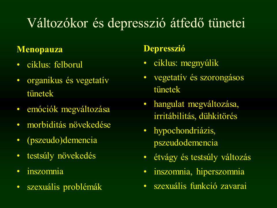 Változókor és depresszió átfedő tünetei Menopauza ciklus: felborul organikus és vegetatív tünetek emóciók megváltozása morbiditás növekedése (pszeudo)