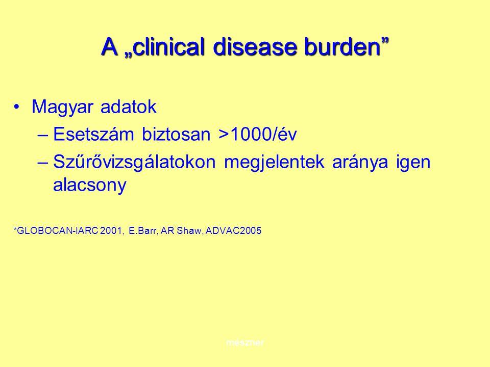 """mészner A """"clinical disease burden Magyar adatok –Esetszám biztosan >1000/év –Szűrővizsgálatokon megjelentek aránya igen alacsony *GLOBOCAN-IARC 2001, E.Barr, AR Shaw, ADVAC2005"""
