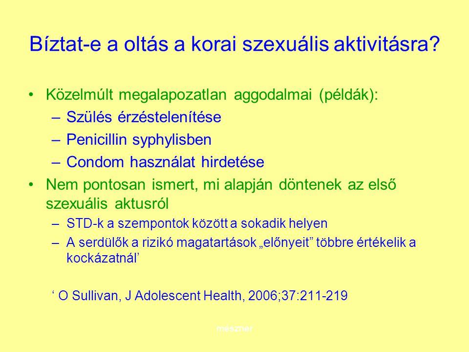 mészner Bíztat-e a oltás a korai szexuális aktivitásra? Közelmúlt megalapozatlan aggodalmai (példák): –Szülés érzéstelenítése –Penicillin syphylisben