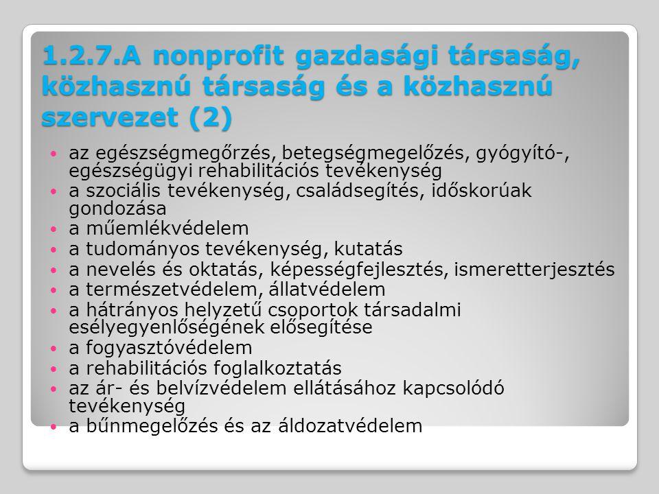 1.2.7.A nonprofit gazdasági társaság, közhasznú társaság és a közhasznú szervezet (2) az egészségmegőrzés, betegségmegelőzés, gyógyító-, egészségügyi