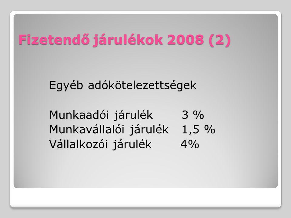 Fizetendő járulékok 2008 (2) Egyéb adókötelezettségek Munkaadói járulék 3 % Munkavállalói járulék 1,5 % Vállalkozói járulék 4%