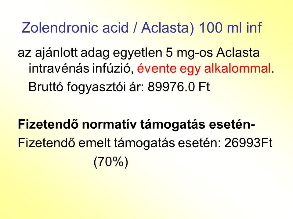 Zolendronic acid / Aclasta) 100 ml inf az ajánlott adag egyetlen 5 mg-os Aclasta intravénás infúzió, évente egy alkalommal.