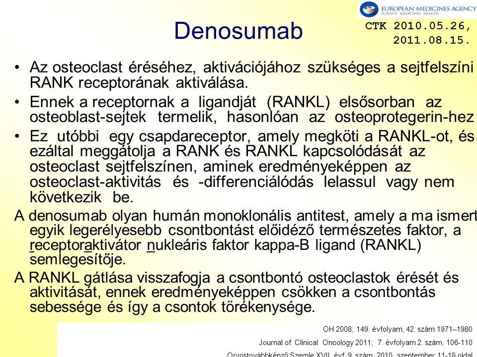 13 Denosumab Az osteoclast éréséhez, aktivációjához szükséges a sejtfelszíni RANK receptorának aktiválása.