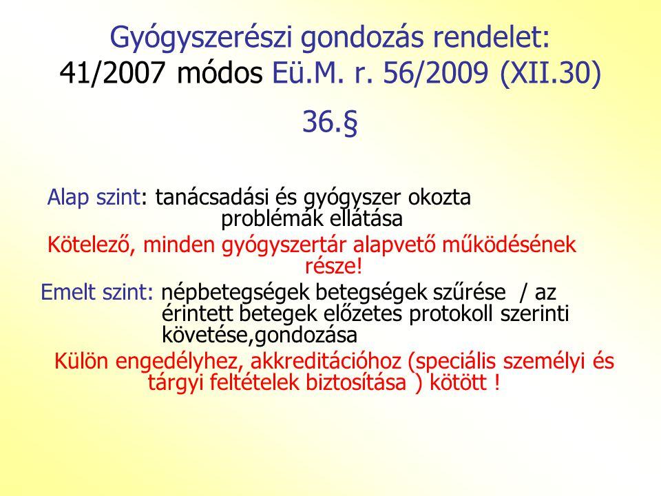 Gyógyszerészi gondozás rendelet: 41/2007 módos Eü.M.