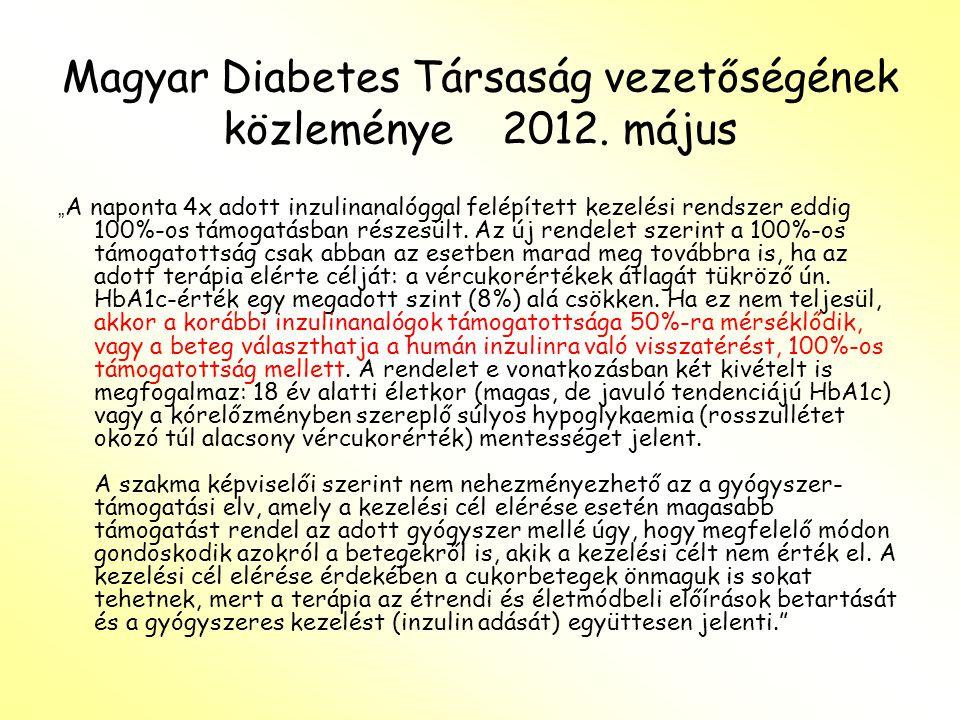 Magyar Diabetes Társaság vezetőségének közleménye 2012.