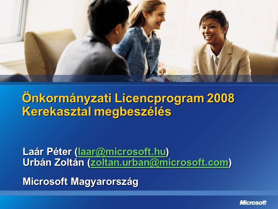 Önkormányzati Licencprogram 2008 Kerekasztal megbeszélés Laár Péter (laar@microsoft.hu) laar@microsoft.hu Urbán Zoltán (zoltan.urban@microsoft.com) zo