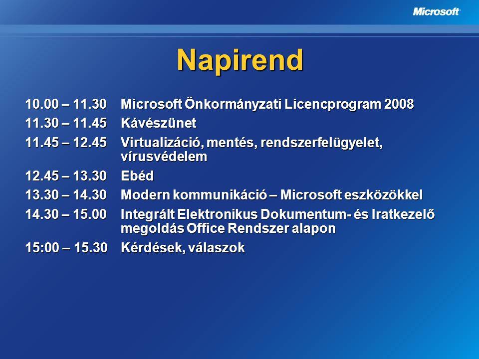 Napirend 10.00 – 11.30Microsoft Önkormányzati Licencprogram 2008 11.30 – 11.45Kávészünet 11.30 – 11.45Kávészünet 11.45 – 12.45Virtualizáció, mentés, r