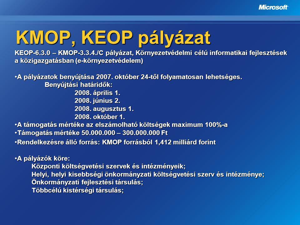 KMOP, KEOP pályázat KEOP-6.3.0 – KMOP-3.3.4./C pályázat, Környezetvédelmi célú informatikai fejlesztések a közigazgatásban (e-környezetvédelem) A pály
