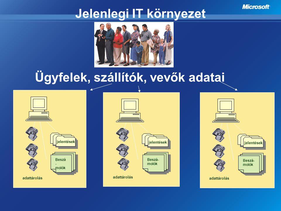 Jelenlegi IT környezet Beszá - molók jelentések adattárolás Ügyfelek, szállítók, vevők adatai Beszá- molók jelentések adattárolás Beszá- molók jelenté