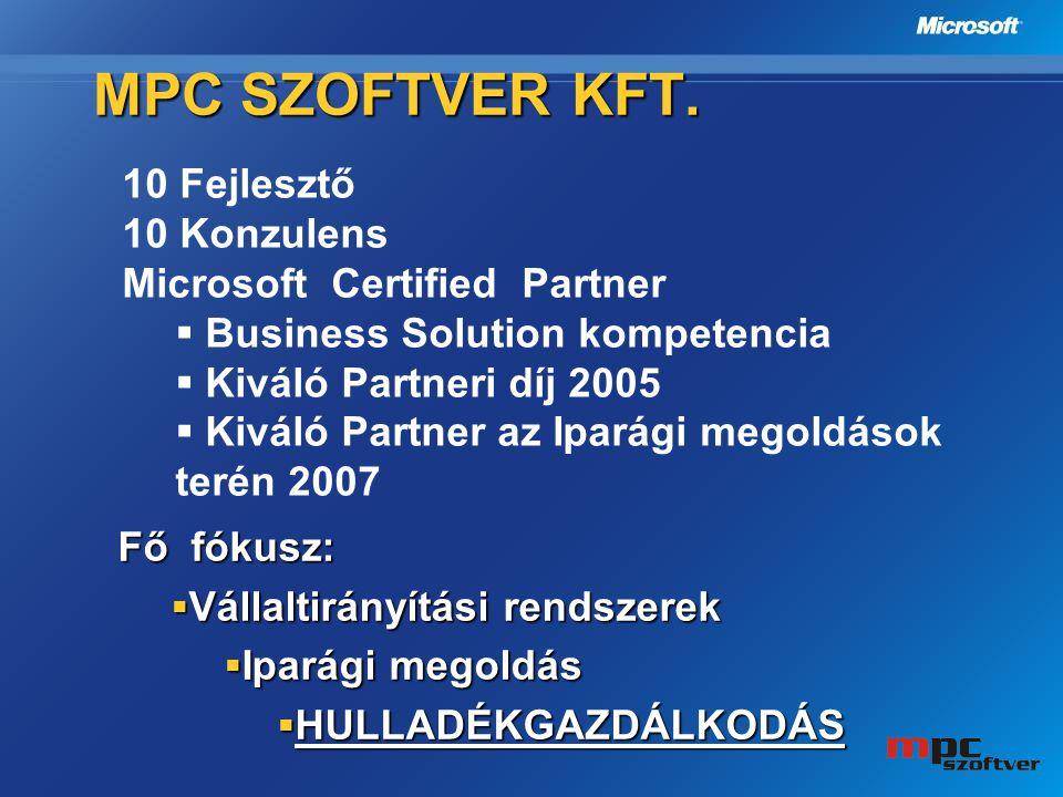 Fő fókusz:  Vállaltirányítási rendszerek  Iparági megoldás  HULLADÉKGAZDÁLKODÁS MPC SZOFTVER KFT. 10 Fejlesztő 10 Konzulens Microsoft Certified Par