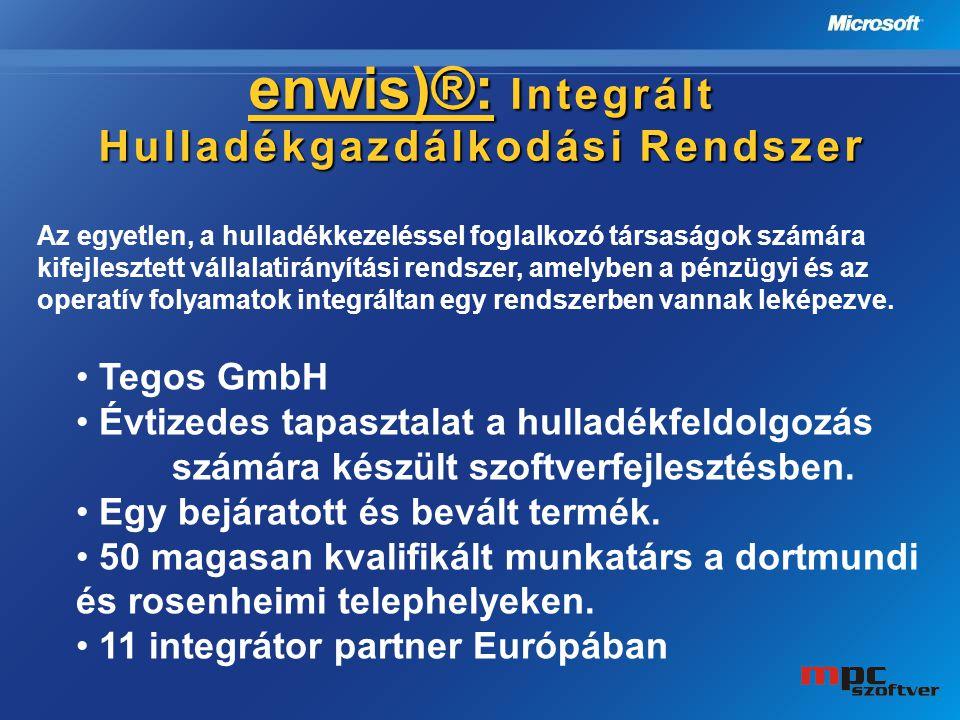 enwis)®: Integrált Hulladékgazdálkodási Rendsze r Az egyetlen, a hulladékkezeléssel foglalkozó társaságok számára kifejlesztett vállalatirányítási ren