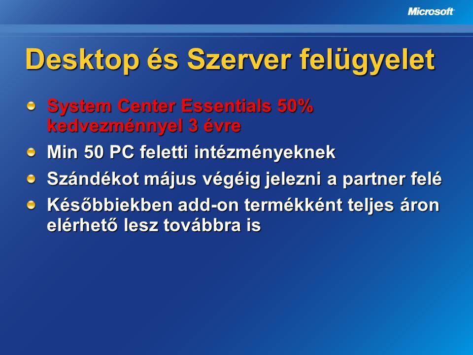 Desktop és Szerver felügyelet System Center Essentials 50% kedvezménnyel 3 évre Min 50 PC feletti intézményeknek Szándékot május végéig jelezni a part