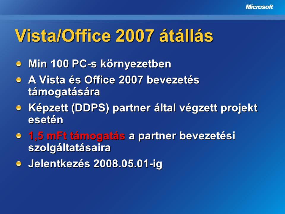 Vista/Office 2007 átállás Min 100 PC-s környezetben A Vista és Office 2007 bevezetés támogatására Képzett (DDPS) partner által végzett projekt esetén