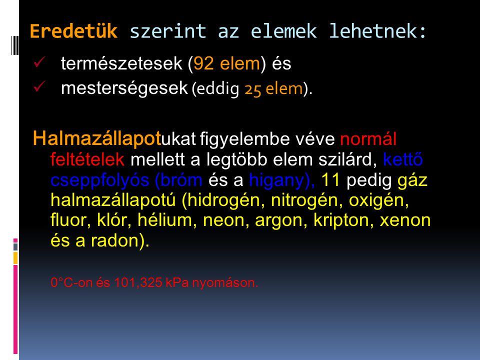 Kémiai tulajdonságaik alapján: fémek (67 elem), nemfémek (17 elem) és félfémek vagy metalloidok (8 elem).