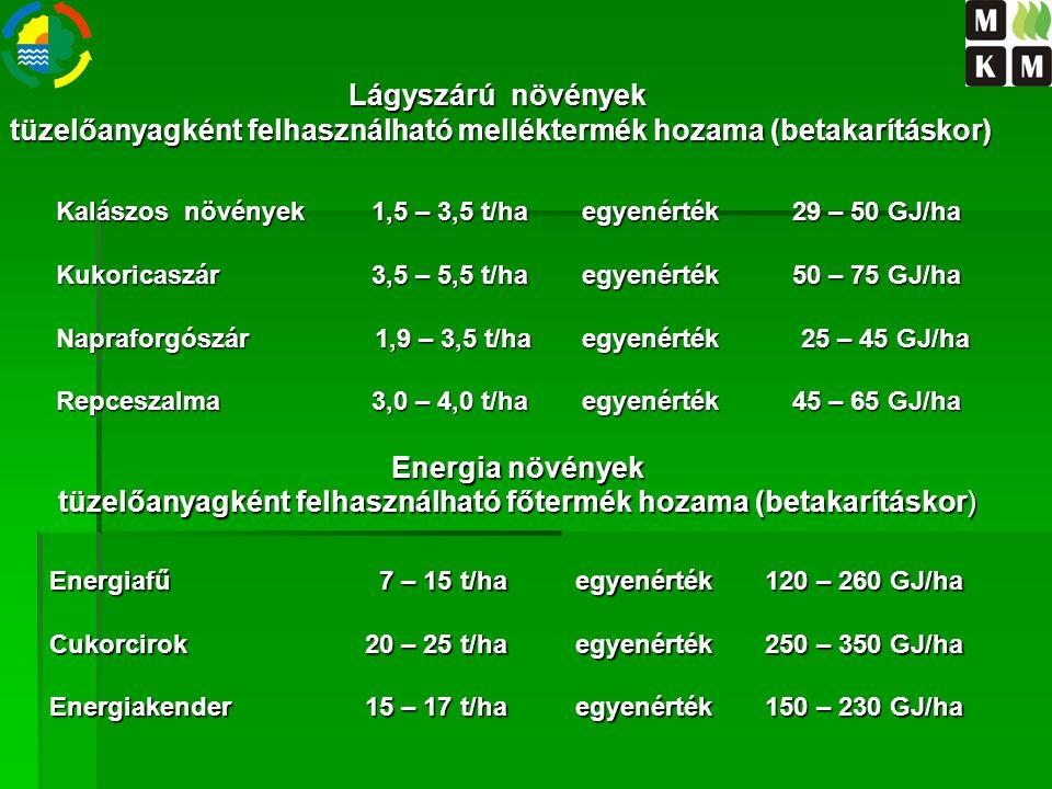 Kalászos növények1,5 – 3,5 t/haegyenérték29 – 50 GJ/ha Kukoricaszár3,5 – 5,5 t/haegyenérték50 – 75 GJ/ha Napraforgószár 1,9 – 3,5 t/haegyenérték 25 –