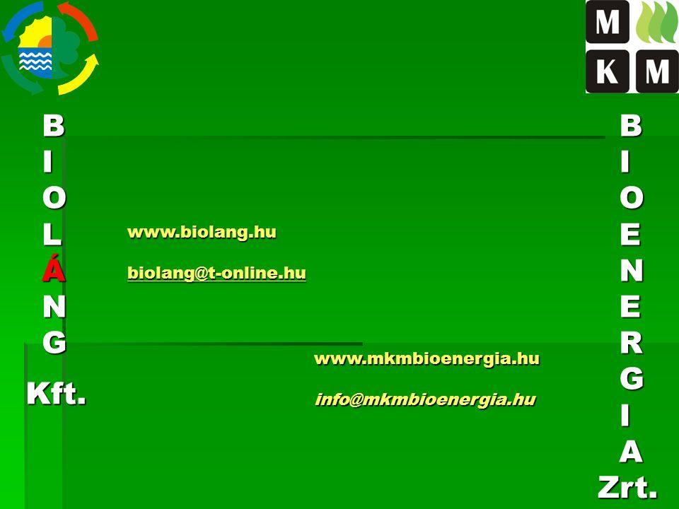 BIOLÁNG www.biolang.hubiolang@t-online.hu BIOENERGIA Kft. Zrt. www.mkmbioenergia.huinfo@mkmbioenergia.hu